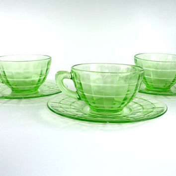 Three Green Depression Glass Cups and Saucers Block Optic by Hocking Glass