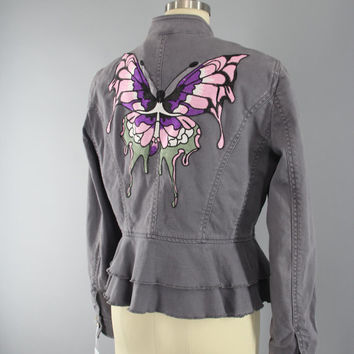 Embroidered Butterfly Jacket / Military Style Coat / Peplum Jacket / Butterflies Embroidery / Grey Blazer / Size 8 Medium M