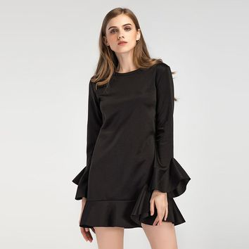 Black Short Dress with Ruffle Hem and Cuff