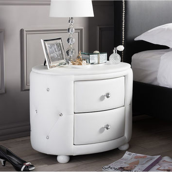 Baxton Studio Davina Hollywood Glamour Style Oval 2-drawer White Faux Leather Upholstered Nightstand | Overstock.com Shopping - The Best Deals on Nightstands
