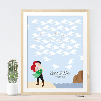 The Little Mermaid Wedding Guest Book Alternative with Ariel and Eric and Seagulls for guest signatures, Fairy Tale wedding guestbook idea
