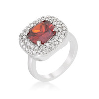 Micropave Red Bridal Cocktail Ring, size : 08