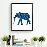 Elephant Art, Navy Animal Print, Blue Animal, Elephants, Navy Art, Animal Wall Art, Elephant Prints, Navy Decor, Elephant Wall Prints *174*