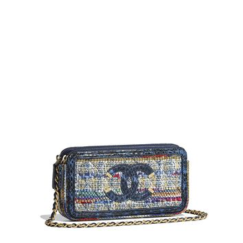 Clutch with Chain, tweed, water snake, lambskin, calfskin & gold-tone metal, blue, gold, red, white & navy blue - CHANEL