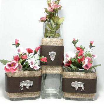 Western Centerpiece, Buffalo theme, Rustic glass decor, Glass bud vase and candle holders, western concho trim,