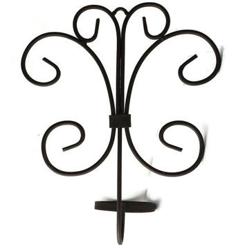 Wrought Iron Sconce Pair Scroll Art Candle Pot Holders Wall Art