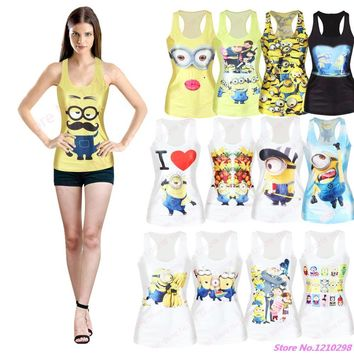 Cute Cartoon Minions Sports Tank Tops Women Vest Punk Yellow 3D Print Minions Yoga Shirts Camisole Slim Vogue Singlet Funny