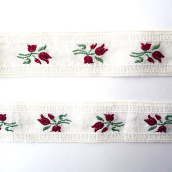 Vintage Cotton Sewing Tape / Ribbon / Trim - Embroidery Dark Red Flowers