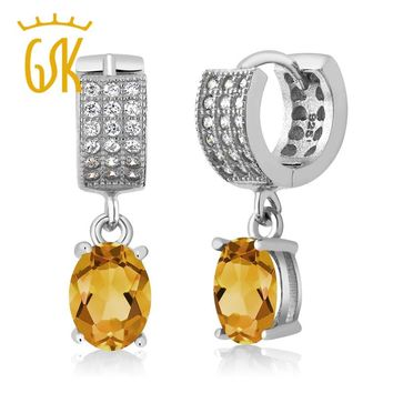 2017 women for silver eardrop fashion jewelry 2.63 Ct Oval Yellow Citrine 100% real 925 Sterling Silver Dangle Earrings gift