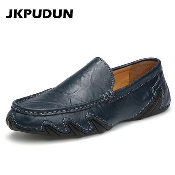 JKPUDUN Italian Mens Boat Shoes Casual Luxury Brands Penny Loafers Designer L eather Breathable Driving Shoes For Men Moccasins