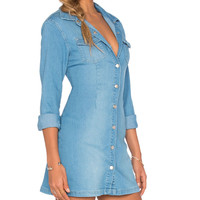 All I Want Button Up Dress in Denim