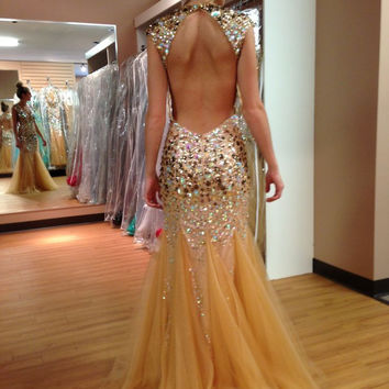 New Arrival Champagne Long 2016 Prom Dresses With Mermaid Tulle Beaded Backless High Neck Charming Delicate Evening Party Gowns