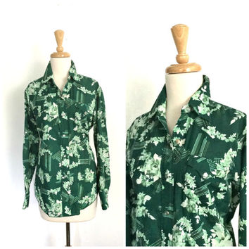 Vintage Western Shirt - 70s blouse - womens disco shirt - fitted shirt - S M