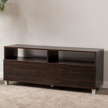 Dark Walnut Finish Contemporary TV Stand - Accommodates up to 50-inch TV