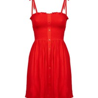 Petite Red Shirred Sundress   New Look