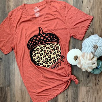 Happy Fall Leopard Acorn Graphic Tee (S-2XL)