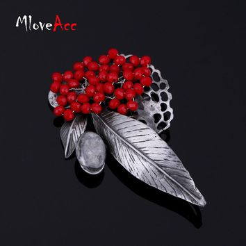 MloveAcc Retro Jewelry Gun Metal Vintage Leaf Brooches Country Style Red Crystal Beads Brooch Pins Women Pendant Accessories