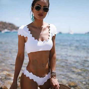 White Solid Bathing Suit Bikini Set WHITE