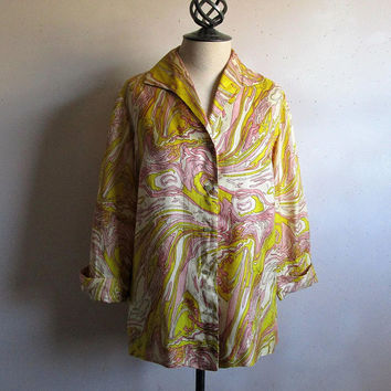 Vintage Citrus Yellow 60s Shirt Womens Abstract Pink Button Down 1960s Shantung Blouse Large