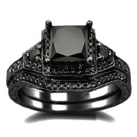 2.01ct Black Princess Cut Diamond Engagement Ring Wedding Set 14k Black Gold:Amazon:Jewelry