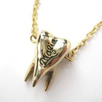 Simple Gold Wisdom Tooth Mafia Gangster Charm Necklace