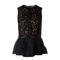 Michael Kors Womens Lace Overlay Sleeveless Peplum Top