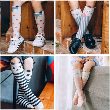 2016 Cute Animal Socks Kids Knee High Socks 3D Cartoon Boys Girls School Long Socks Baby Cotton Fox Stripes Dots Leg Warmer 1-8Y
