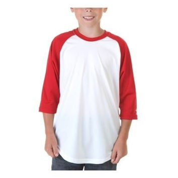 Augusta-Baseball Jersey Raglan 3/4 sleeves~White/Red~Youth-MD
