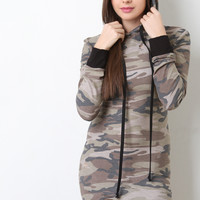 Distressed Camouflage Sweater Dress