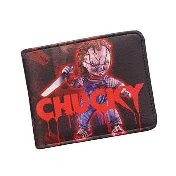 Vintage Anime Hot Movies Wallet BRIDE OF CHUCKY Mens Woman Purse Small Short Leather Wallet Dollar Price Cards Holder Purse Boy