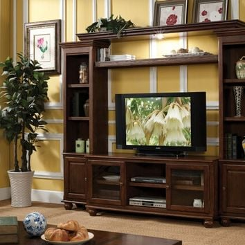 4 pc Dita walnut finish wood slim profile entertainment center wall unit with TV stand and side towers