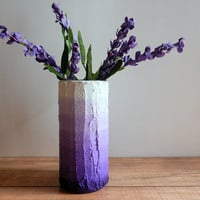 Ombre Purple Vase /  lavender flower vase / dusty pastel purple / concrete and glass vase