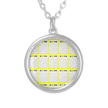 Happy New Year 2016 Cute Smiley Calendar Round Pendant Necklace