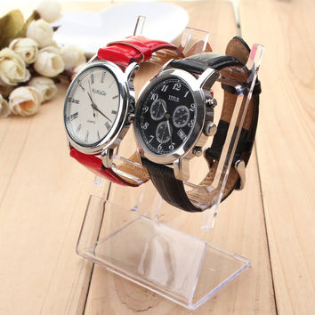 2pcs Clear Plastic Watch Bracelet Jewelry Showcase Display Stand Holder Rack