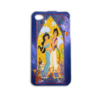 Cute Disney Aladdin Stain Glass Look Genie Funny Custom Case Cover iPhone 4 iPhone 4s iPhone 5 iPhone 5s