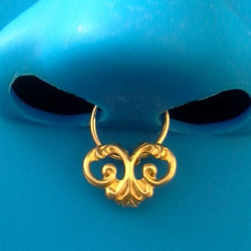 Gold Ornate septum Ring faux nose ring piercing imitation (Clip on) nose ring No piercing required, choose a colour-For him/For her