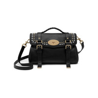 Alexa in Black Soft Small Grain with Rivets | Alexa | Mulberry