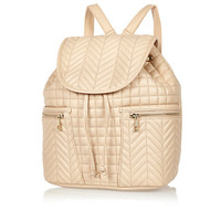 River Island Womens Cream quilted backpack