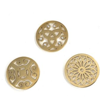 Coin Discs Set of 3 Gold Plated Stainless Steel 33mm for Interchangeable Coin Lockets