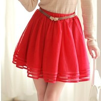 (FODRE0606) Red Layered Skirt, iAnyWear