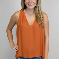 Burnt Orange V-Neck Sleeveless Top