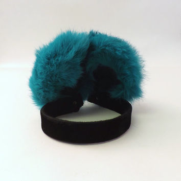 Vintage Retro 1980s 90s Green and Black Furry Earmuffs Hat Winter Ski Bunny Hip Hop Hipster Fuzzy Headwear Tacky Figure Skater