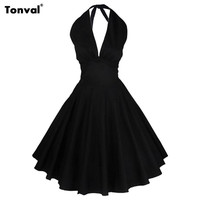 Tonval Women Vintage Rockabilly Black Dress Audrey Hepburn 50s Sexy V Neck Backless Evening Party Halter Summer Dresses