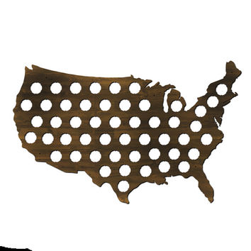 US Beer Cap Map with Dark Walnut Stain - Great Guy Gift and Man Cave - Holds Craft Beer Bottle Caps