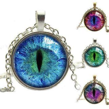 Colored Dragon Cats Eye Glass Cabochon Pendant  Stainless Steel Alloy Necklace