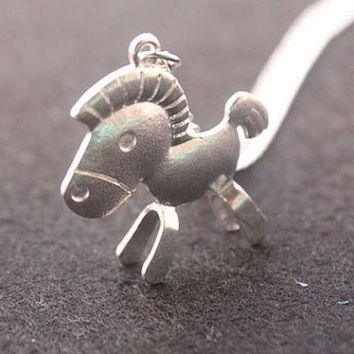 horse necklace,retro silver 3D cute horse,alloy necklace---N102