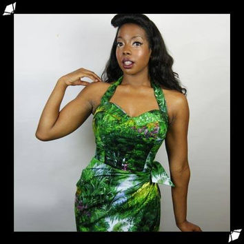 Sarong Tiki Oasis Pin Up Dress in Lush Landsape