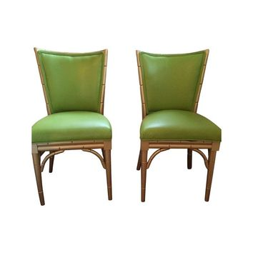 Pre-owned Faux Bamboo Side Chairs - A Pair