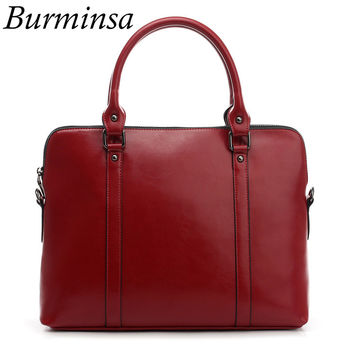 Burminsa Brand Real Genuine Leather Briefcase For Women Designer Handbag 14inch Laptop Bag Office Ladies Shoulder Messenger Bags