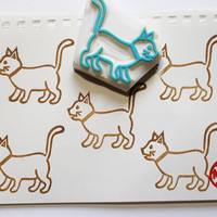 cat rubber stamp. kitten stamp. hand carved rubber stamp. hand carved stamp. walking kitten. gift wrapping. diy birthday. READY TO SHIP